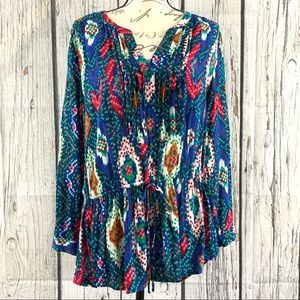 Maeve Anthropologie Multicolor Print Tunic Top